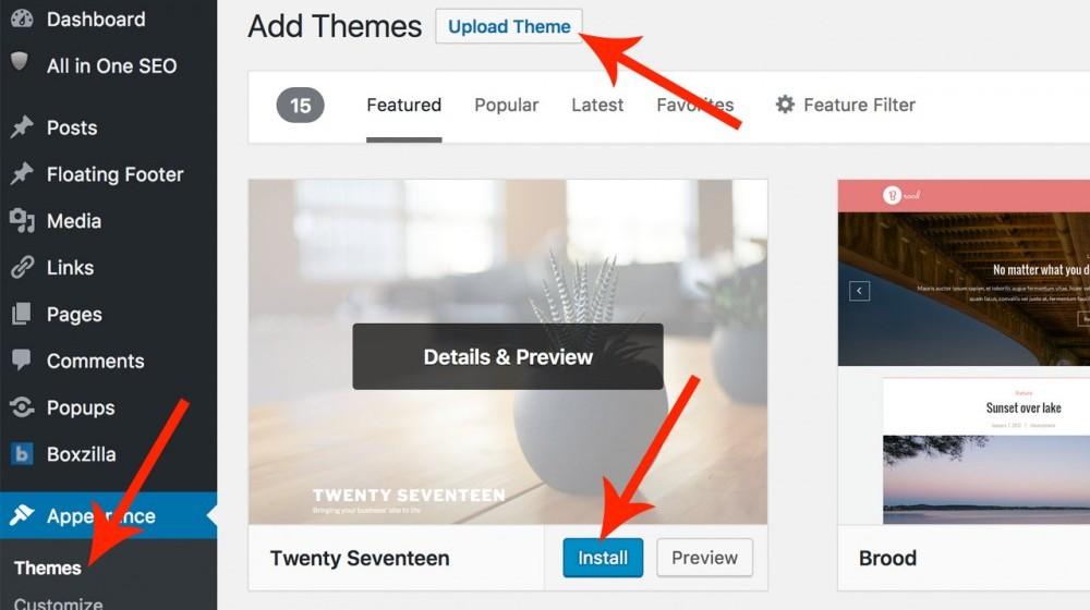 Installing Themes in WordPress.