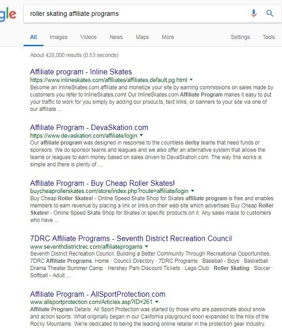 Google - Roller Skating Affiliate Programs
