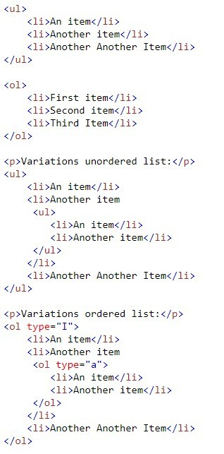 Unordered & Ordered Lists Code