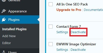 Deactivate Plugin