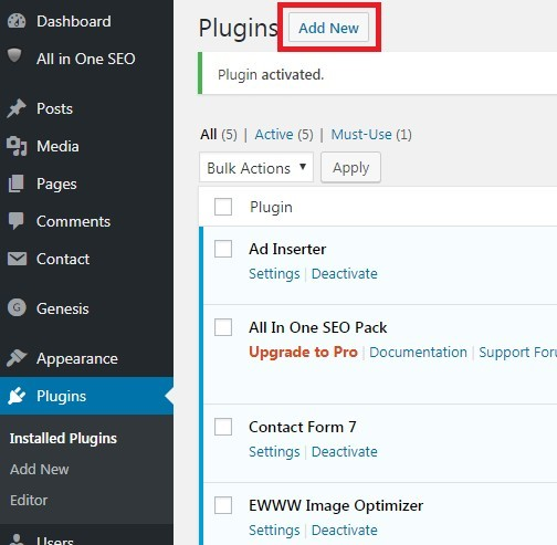 Plugins - Add New Plugin