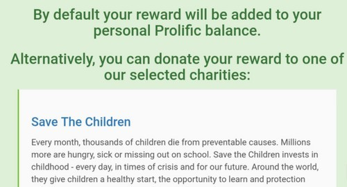 donate rewards to charities