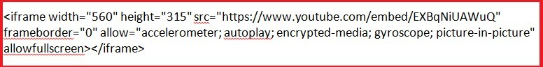 video code copied from youtube