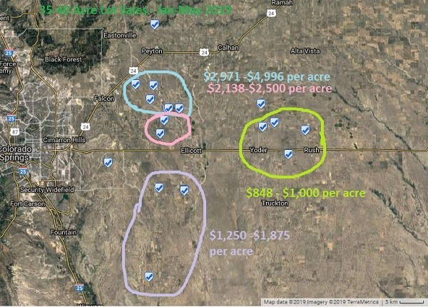 Map View of 35-40 acre lots sales through May 2019