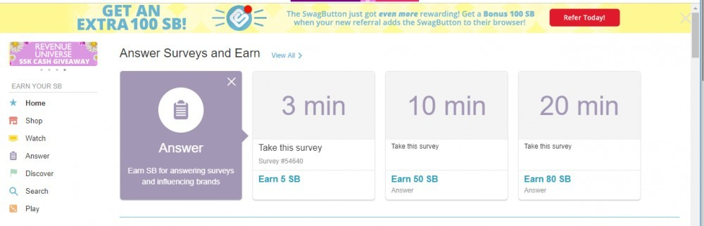 Swagbucks Main Page