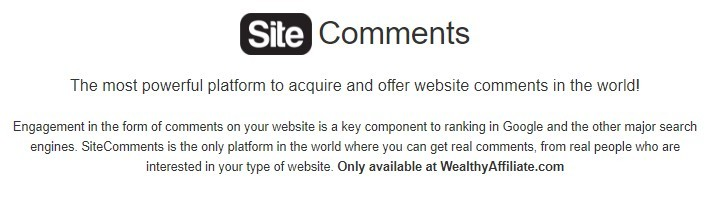 Wealthy Affiliate Site Comments