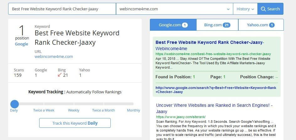 Google Ranking Checker-Free-Stay On Page 1- Webincome4me