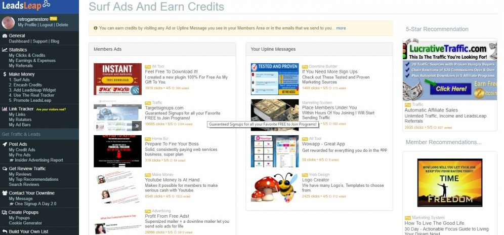 Surf LeadsLeap Ads And Earn Credits