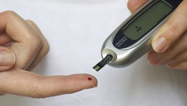 glucometer and blood drop