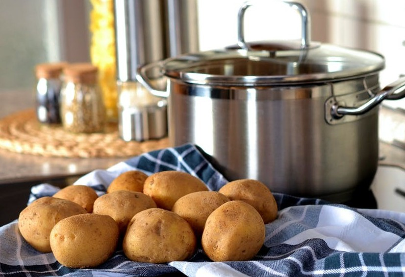 potatoes and pot in kitchen
