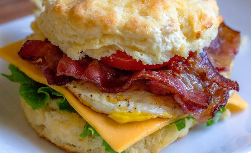 egg, cheese, meat sandwich