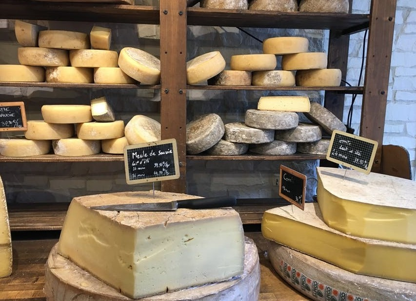 lots of cheese in shop