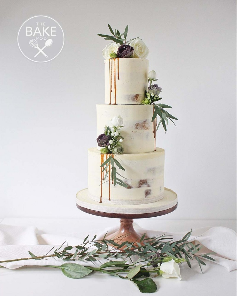 Rustic Naked Wedding Cakes - Semi Naked two tier drip icing