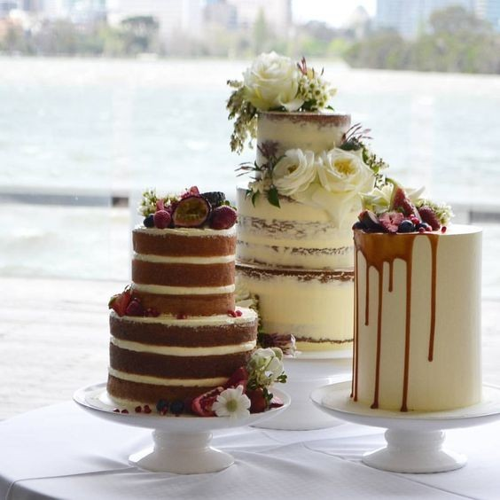 Rustic Naked Wedding Cakes - Naked, Semi Naked and Iced