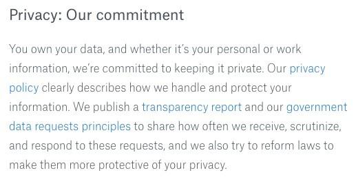 Dropbox's Privacy Commitment