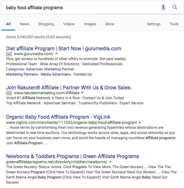 Baby Food Affiliate Programs Search Results