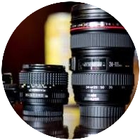 Lenses are examples of photography gear to promote