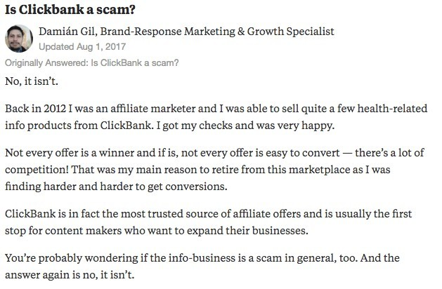 Asking is Clickbank is a scam on Quora
