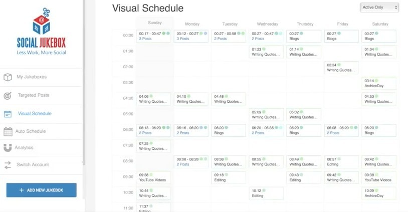 Social Jukebox Visual Schedule