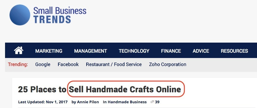 'sell handmade crafts online' is a real case example of long tail keyword