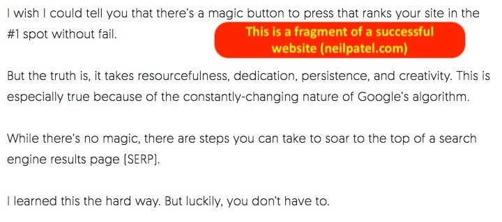 Example of short paragraphs on a successful website