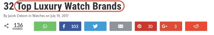 'Top Luxury Watch Brands' is an example of long tail keyword