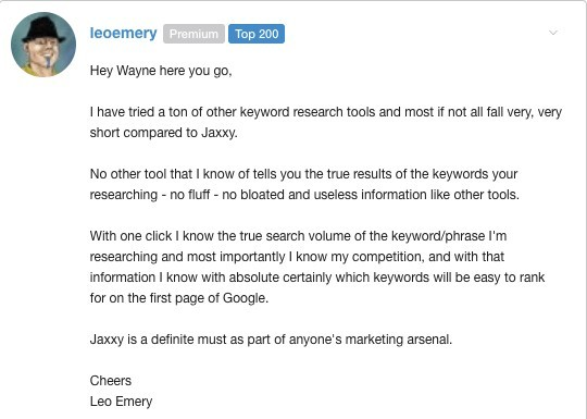 Jaaxy Keyword Research Tool testimonial
