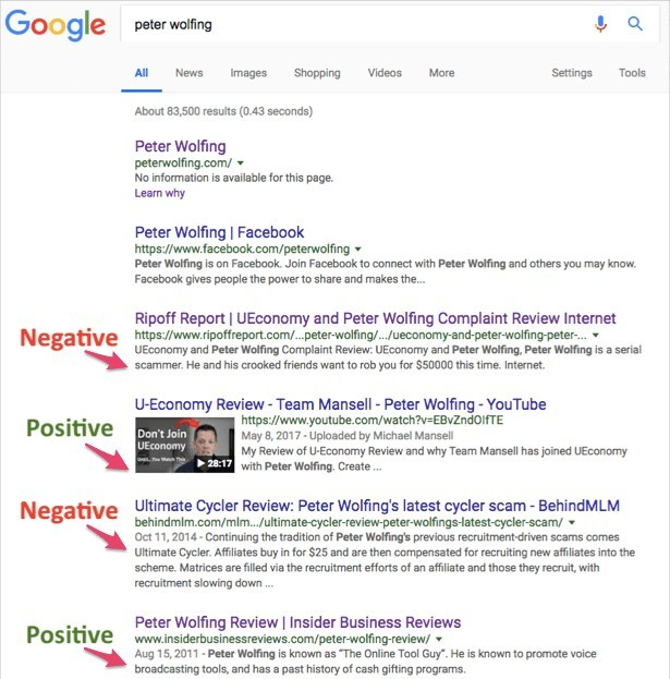 Google search results to 'Peter Wolfing'