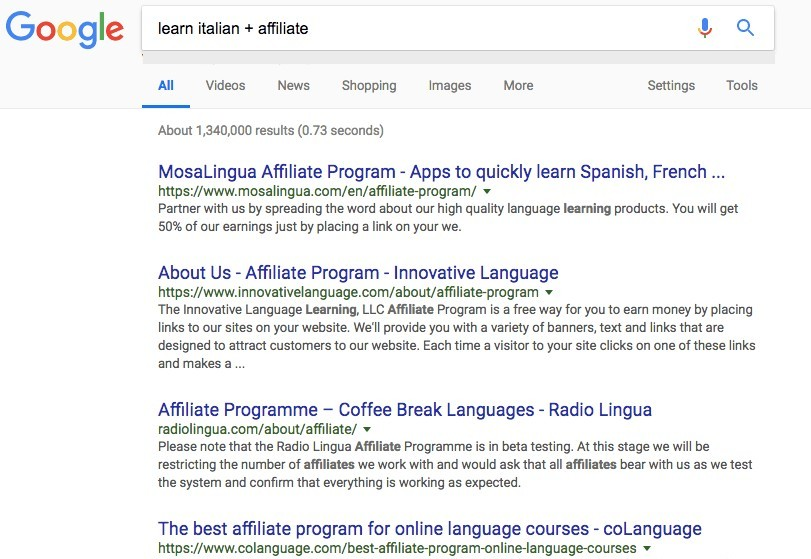 Google results for 'Learn Italian + affiliates'