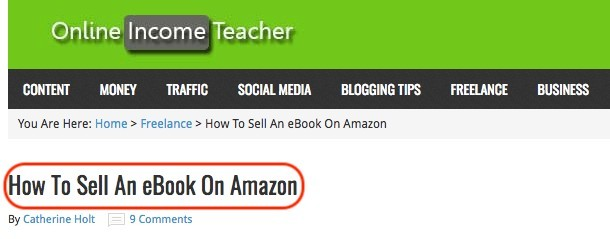 'How to Sell An eBook On Amazon' is a real case example of long tail keyword