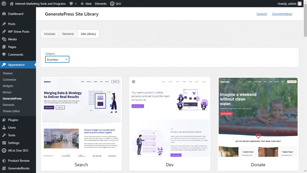 GeneratePress Site Library Themes