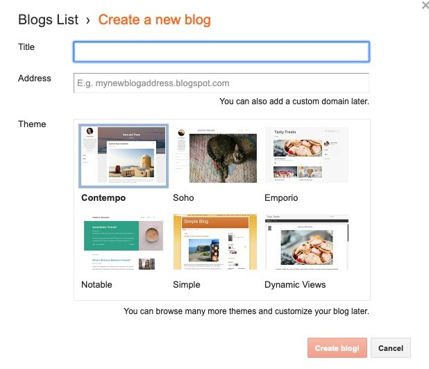 Creating a free blog on Blogger