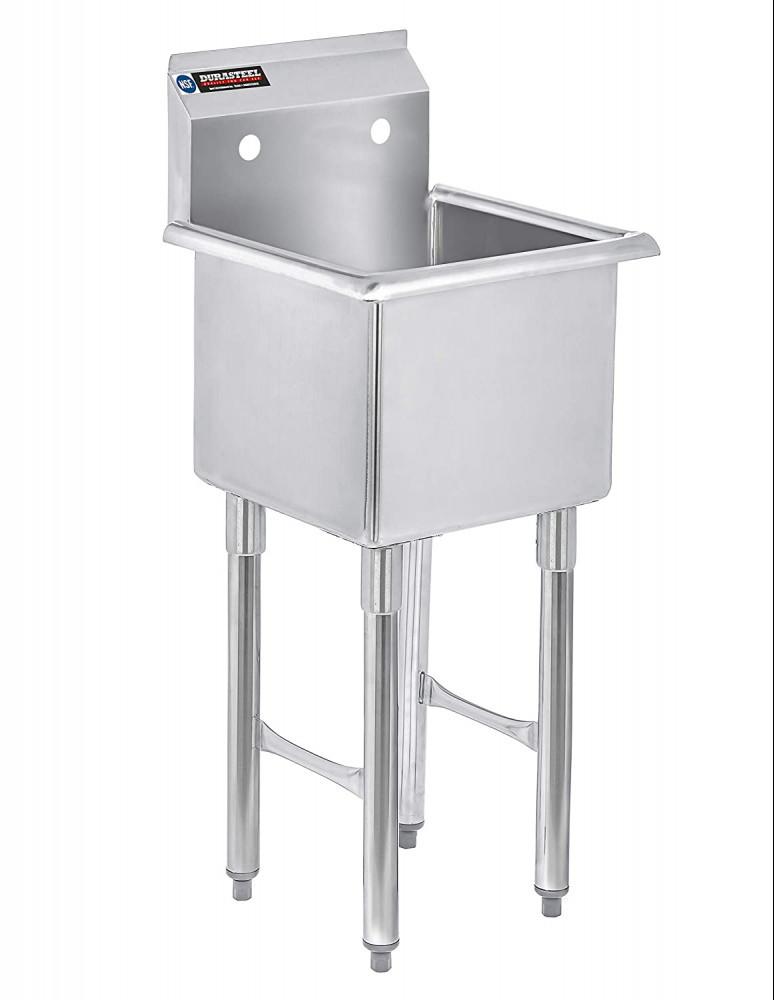 "DuraSteel SCSN1491NI SCSE15151P 1 Compartment Stainless Steel Utility Preparation Prep NSF Sink, 15""x15"" Inner Tub, Chrome, 27 Pound"