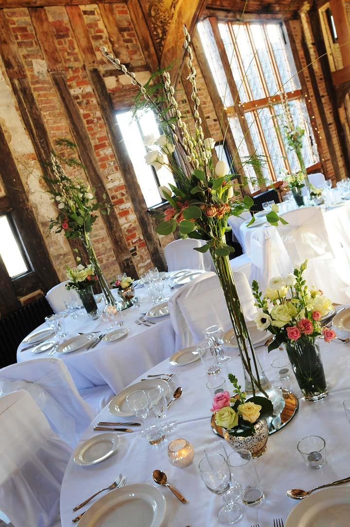 Grand Hall wedding breakfast at Dragon Hall, Norwich