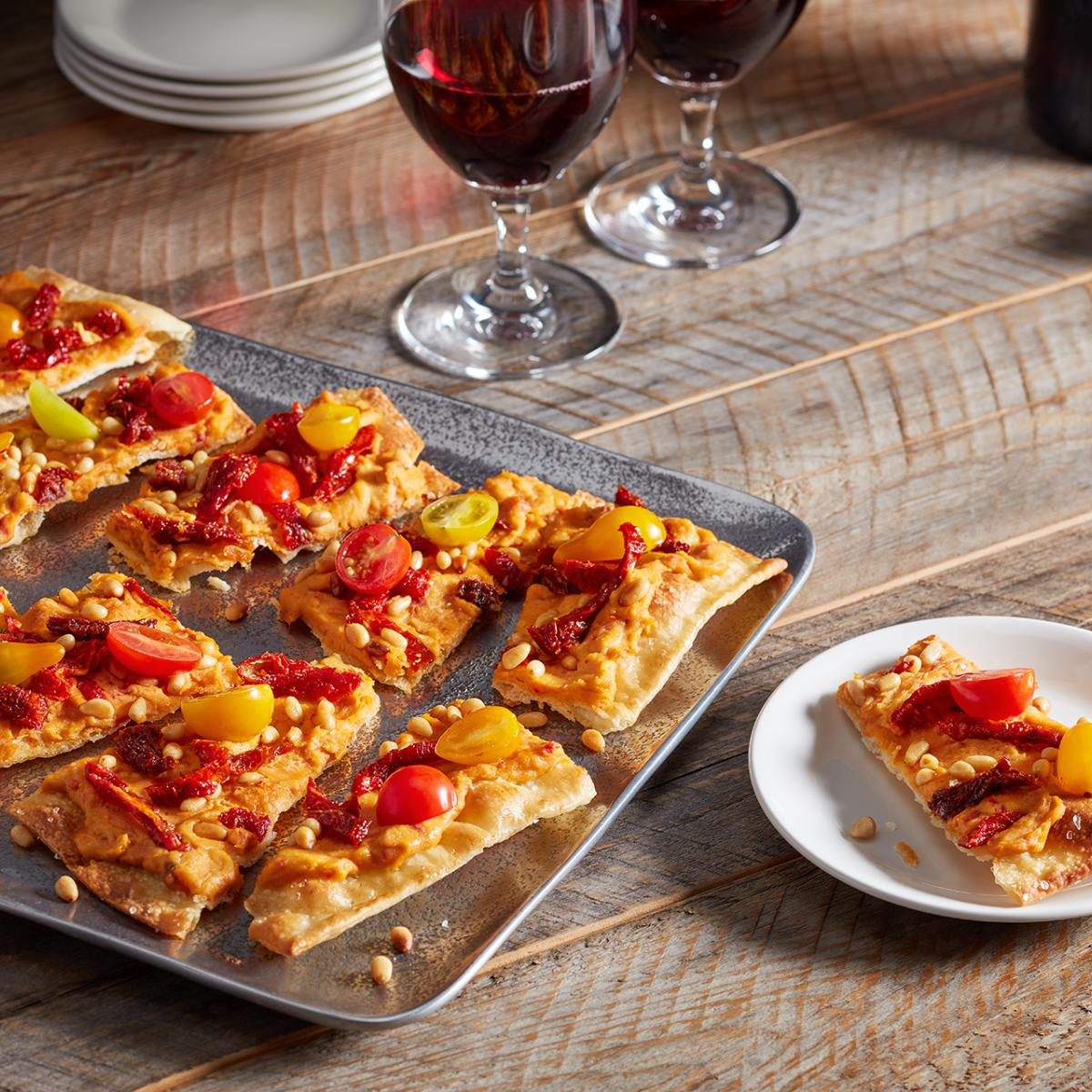 Wewalka Recipe - Red Pepper Hummus Flatbread