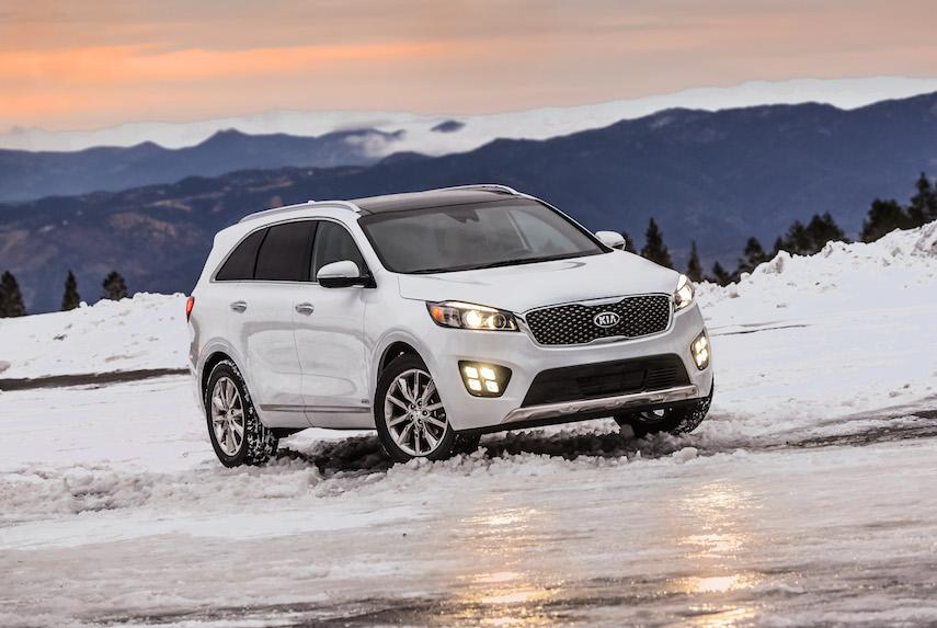 2016 Kia Sorento CUV driving on snow