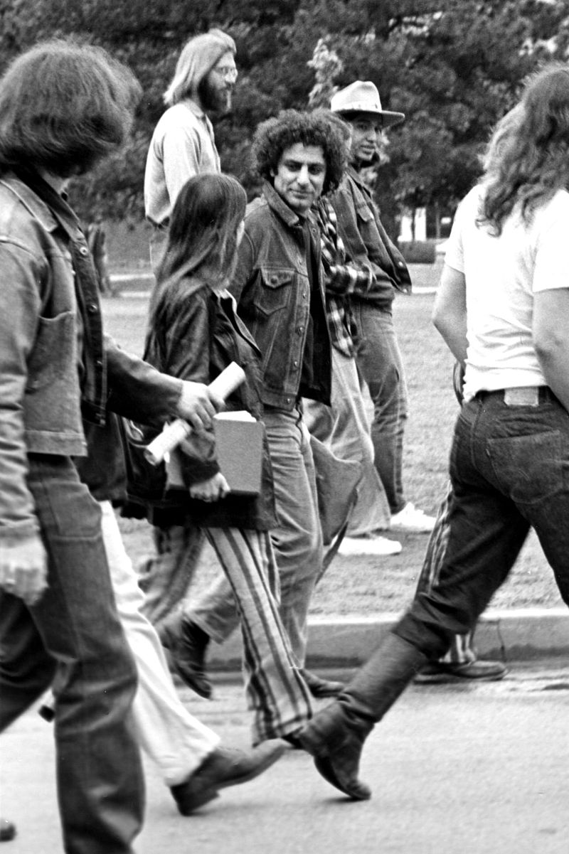 Abbie Hoffman visiting the University of Oklahoma to protest the Vietnam War