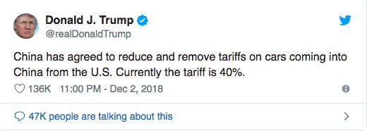Trump tweet china tarriff