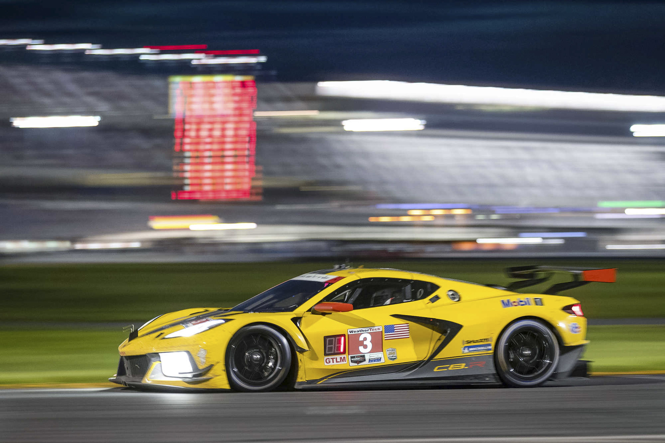 The #3 Mobil 1/SiriusXM Chevrolet Corvette C8.R driven by Antonio Garcia and Jordan Taylor races to victory in the GTLM class Saturday, July 4, 2020 during the 2020 IMSA WeatherTech SportsCar Championship WeatherTech 240 on the Road Course at the Daytona International Speedway in Daytona Beach, Florida. This is the 100th IMSA victory for the team, during the second IMSA race of the season at an empty racetrack, as a result of  the COVID-19 pandemic. (Photo by Richard Prince for Chevy Racing)