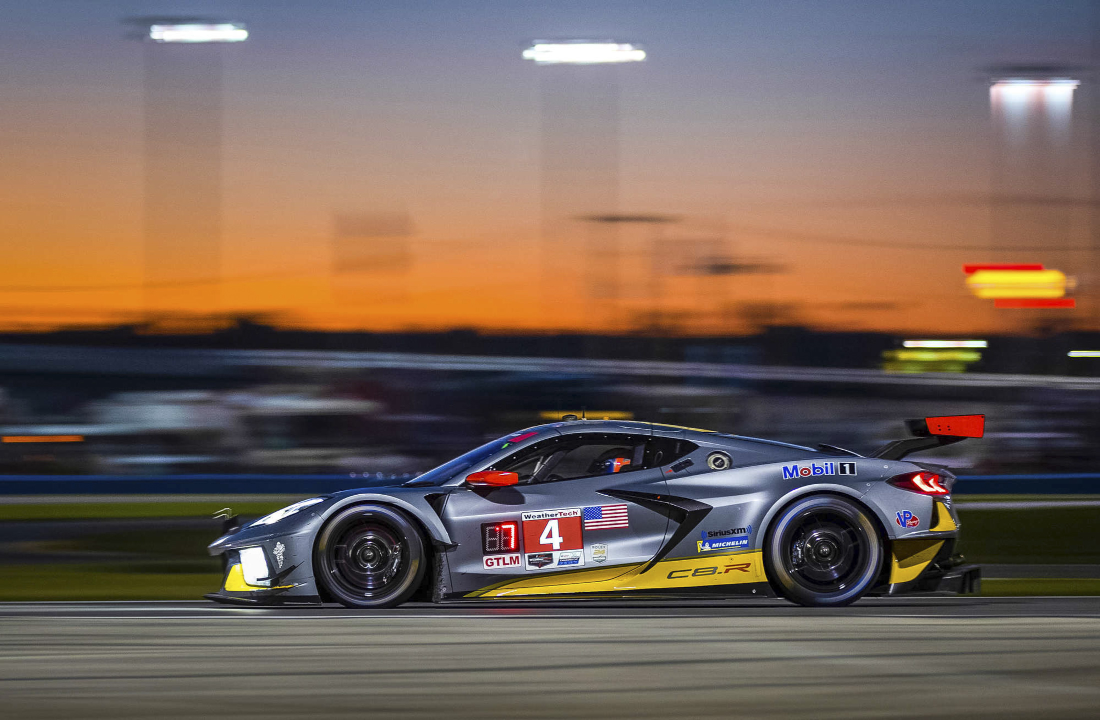 The #4 Mobil 1/SiriusXM Chevrolet Corvette C8.R driven by Tommy Milner, Oliver Gavin and Marcel Fässler race to a seventh place finish in the GTLM class Saturday and Sunday, January 25-26, 2020 during the 24-hour IMSA WeatherTech SportsCar Championship's Rolex 24 at Daytona in Daytona Beach, Florida. This is the first race for the new, first-ever mid-engine Corvette C8.R. (Photo by Richard Prince for Chevy Racing)