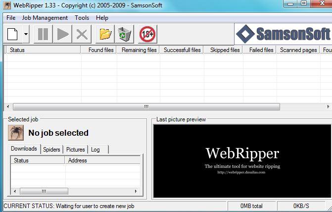 WebRipper is a Free Internet Scanner and Downloader