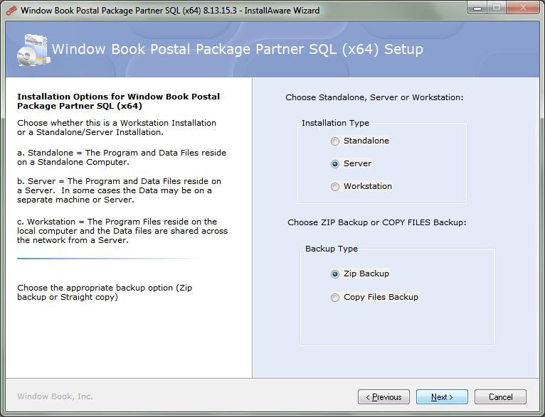 Server install for Postal Package Partner