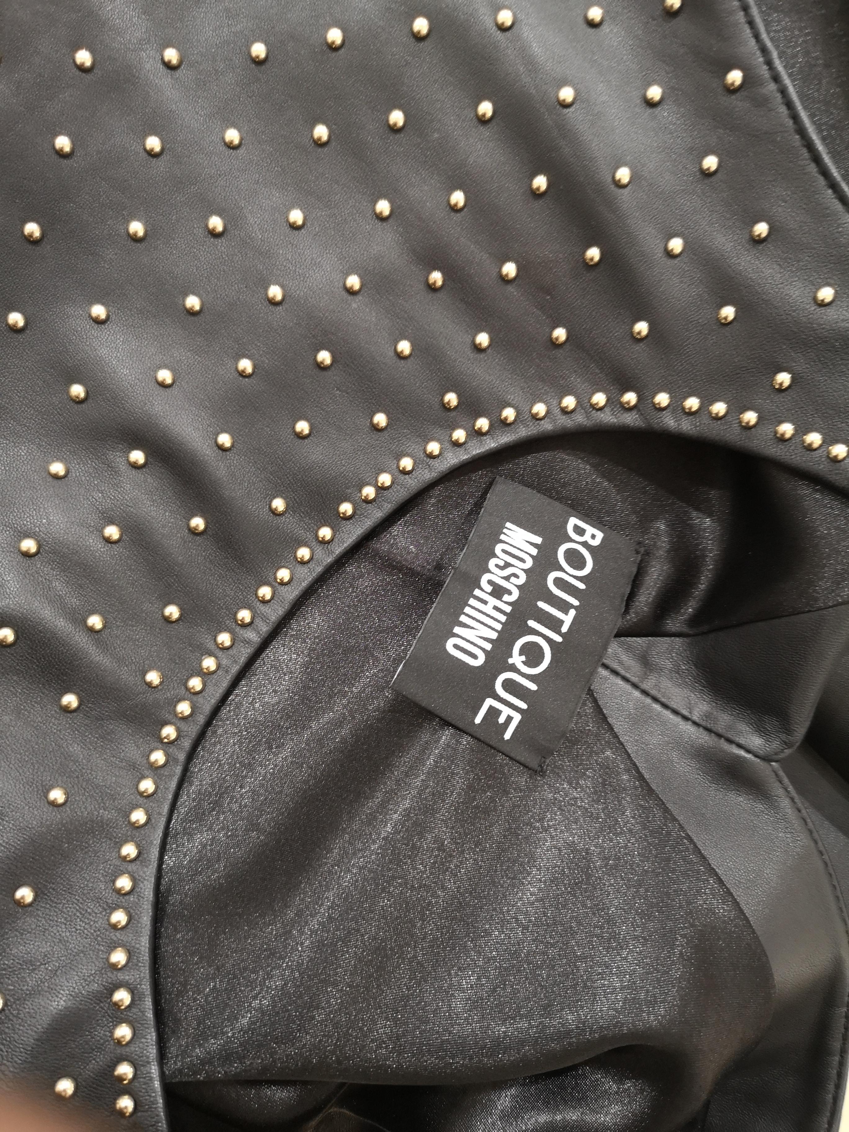 Moschino black leather gold tone studs Dress Moschino | Abito | PELLENERO