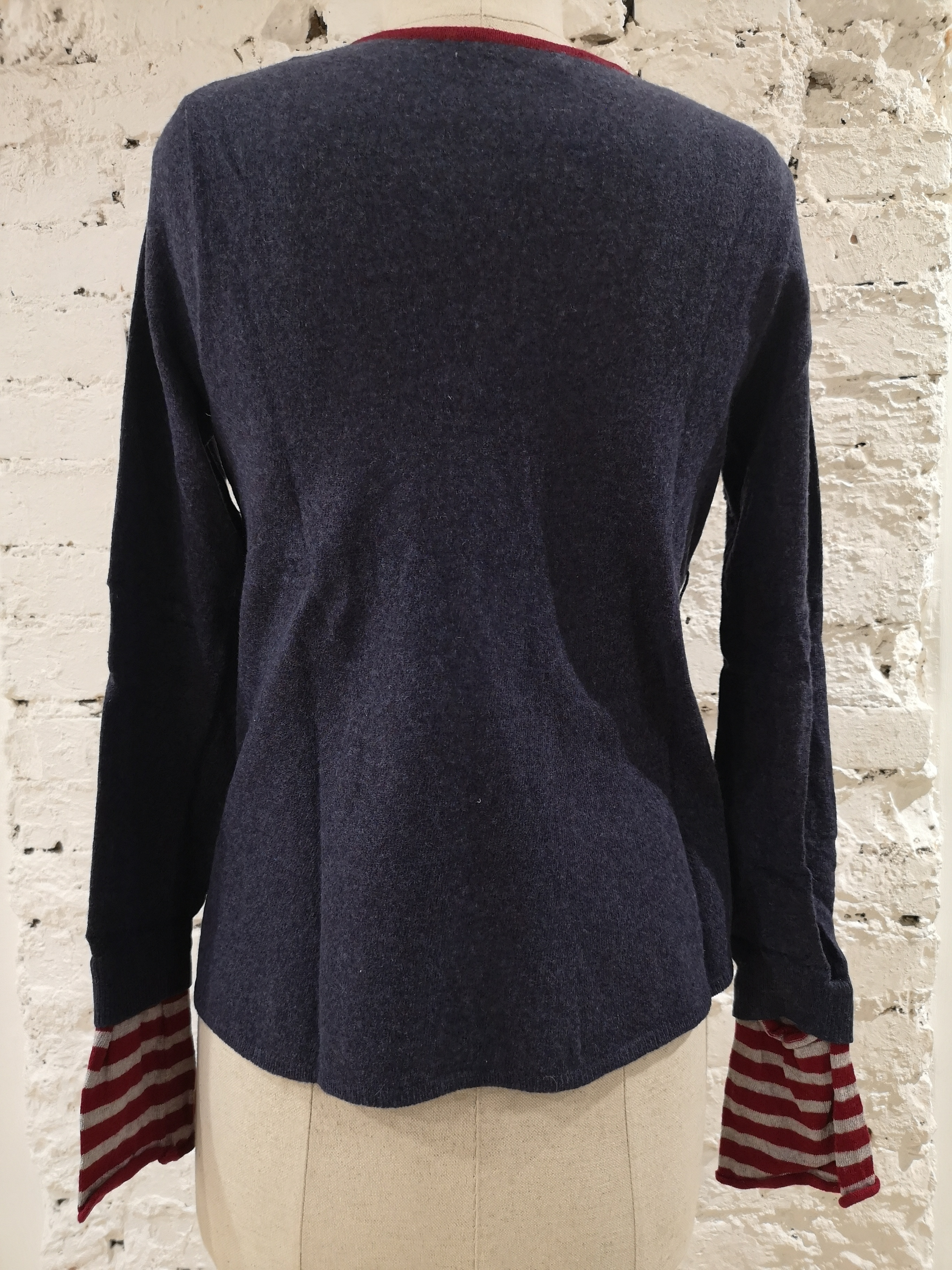 Moschino blue red and white wool sweater Moschino | Pull | VXR01118BLU RIGHE