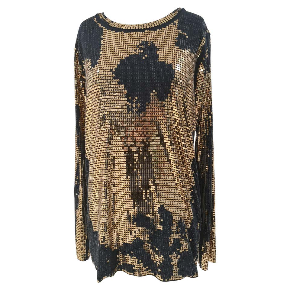 Balmain Black Gold Sequins Dress Balmain | Abito | EC01820X0ZQANERO ORO