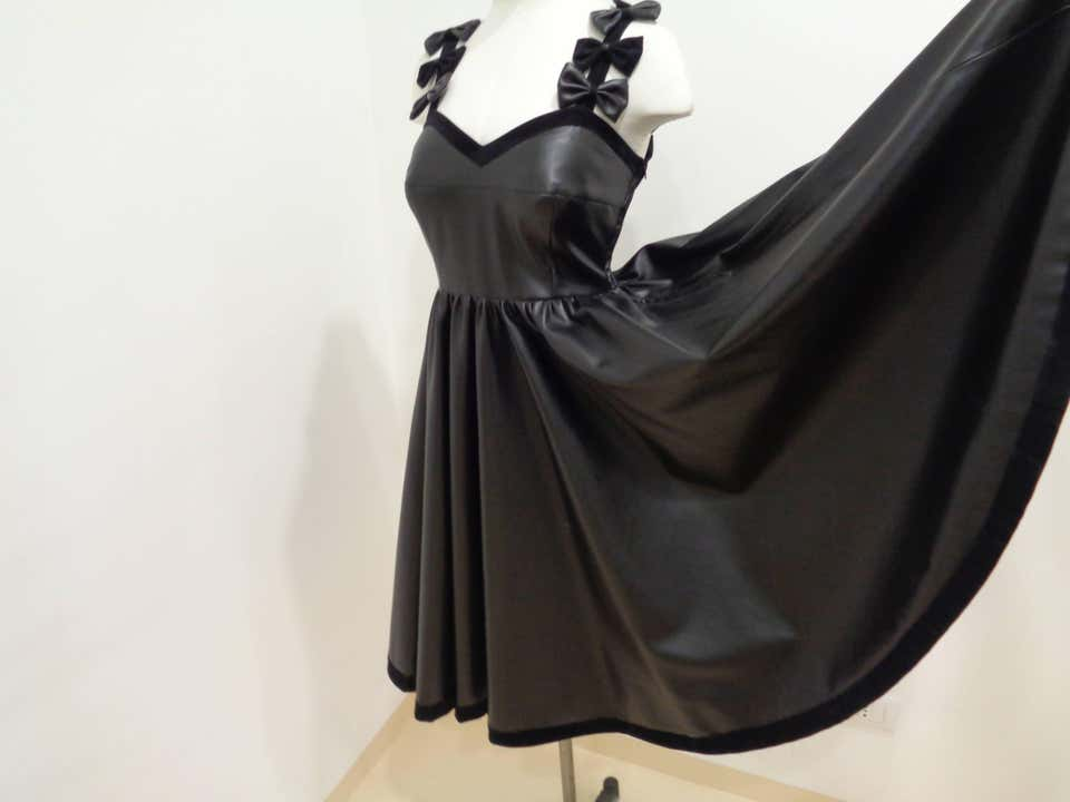 Chanel Black Leather Velvet Bows Dress Chanel | Dresses | VXR016074NERO