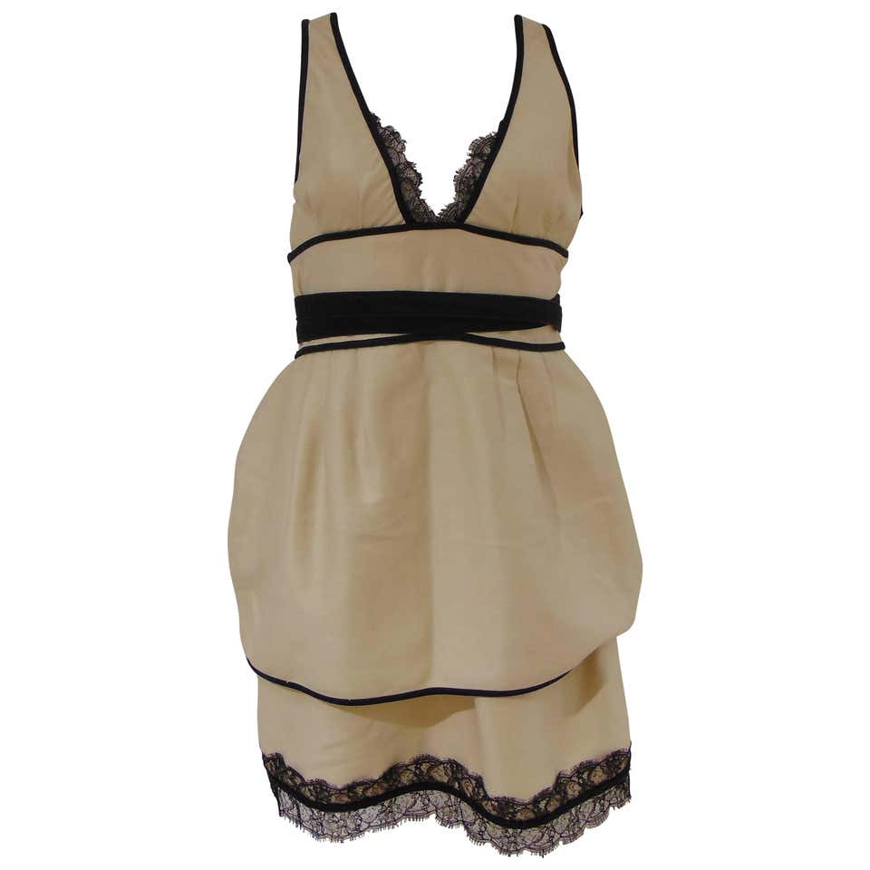 Dsquared2 Cream Black cotton dress DSQUARED2 | Abito | AMGV01786050PANNA