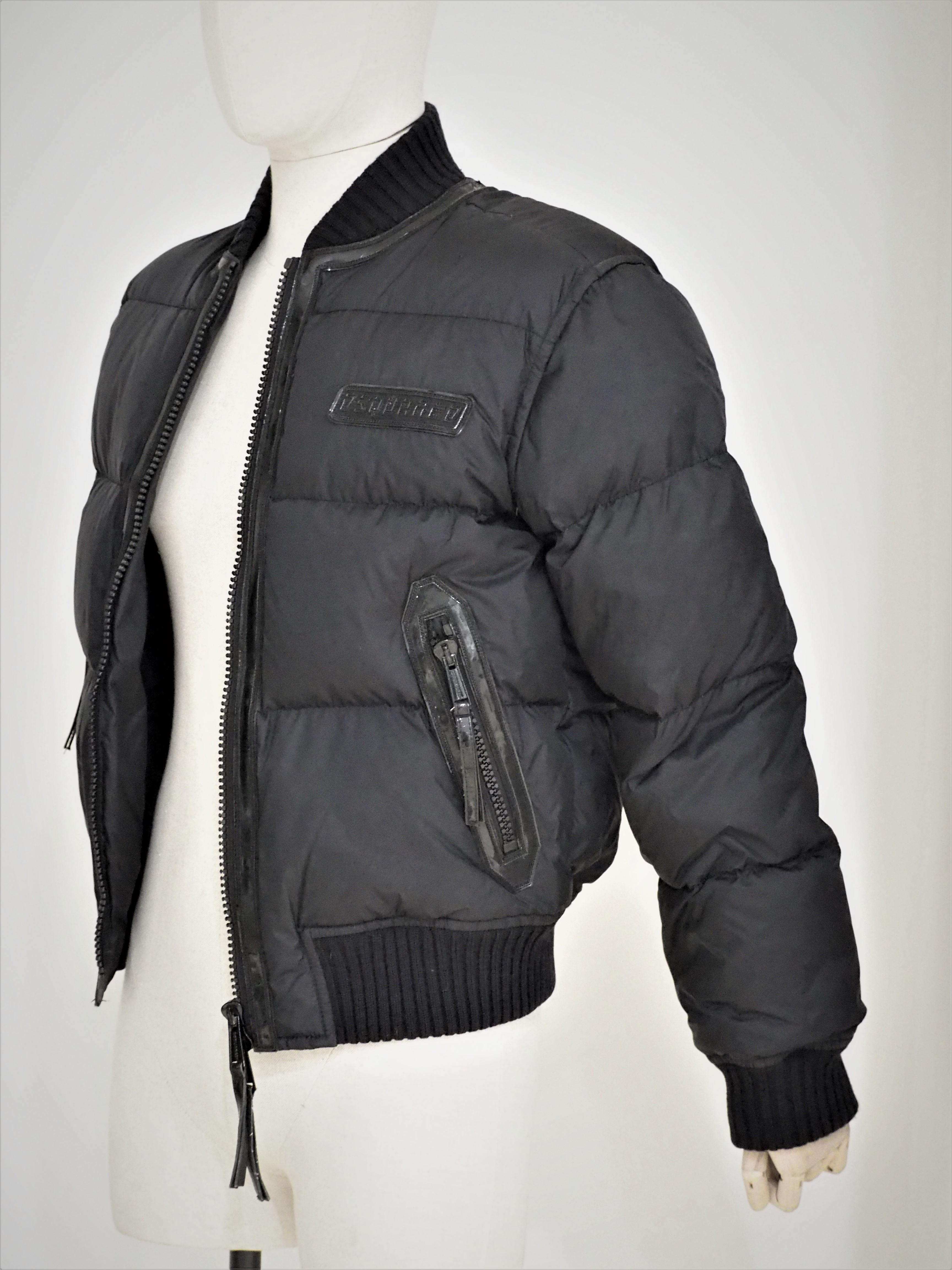 Dsquared2 black leather wool bomber jacket DSQUARED2 | Bomber | AV01815X0SNERO