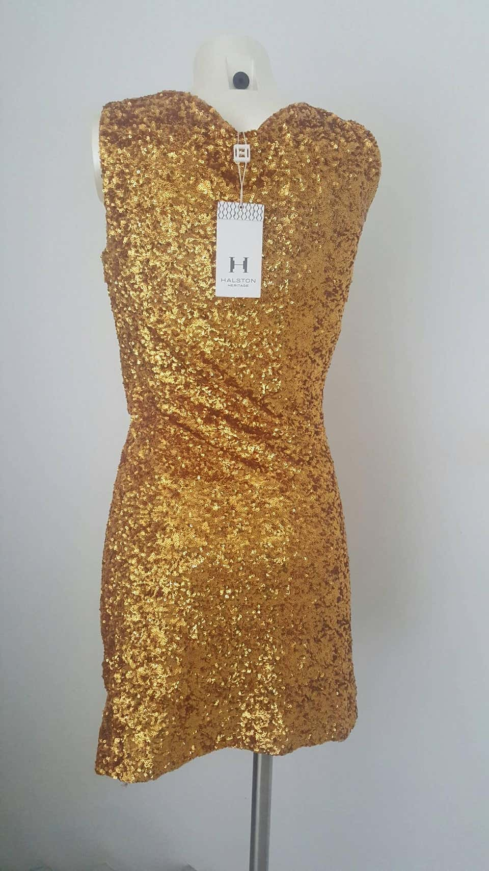 2000s Halston Heritage gold sequins dress Still with original tags Halston heritage | Abito | MO01650ORO