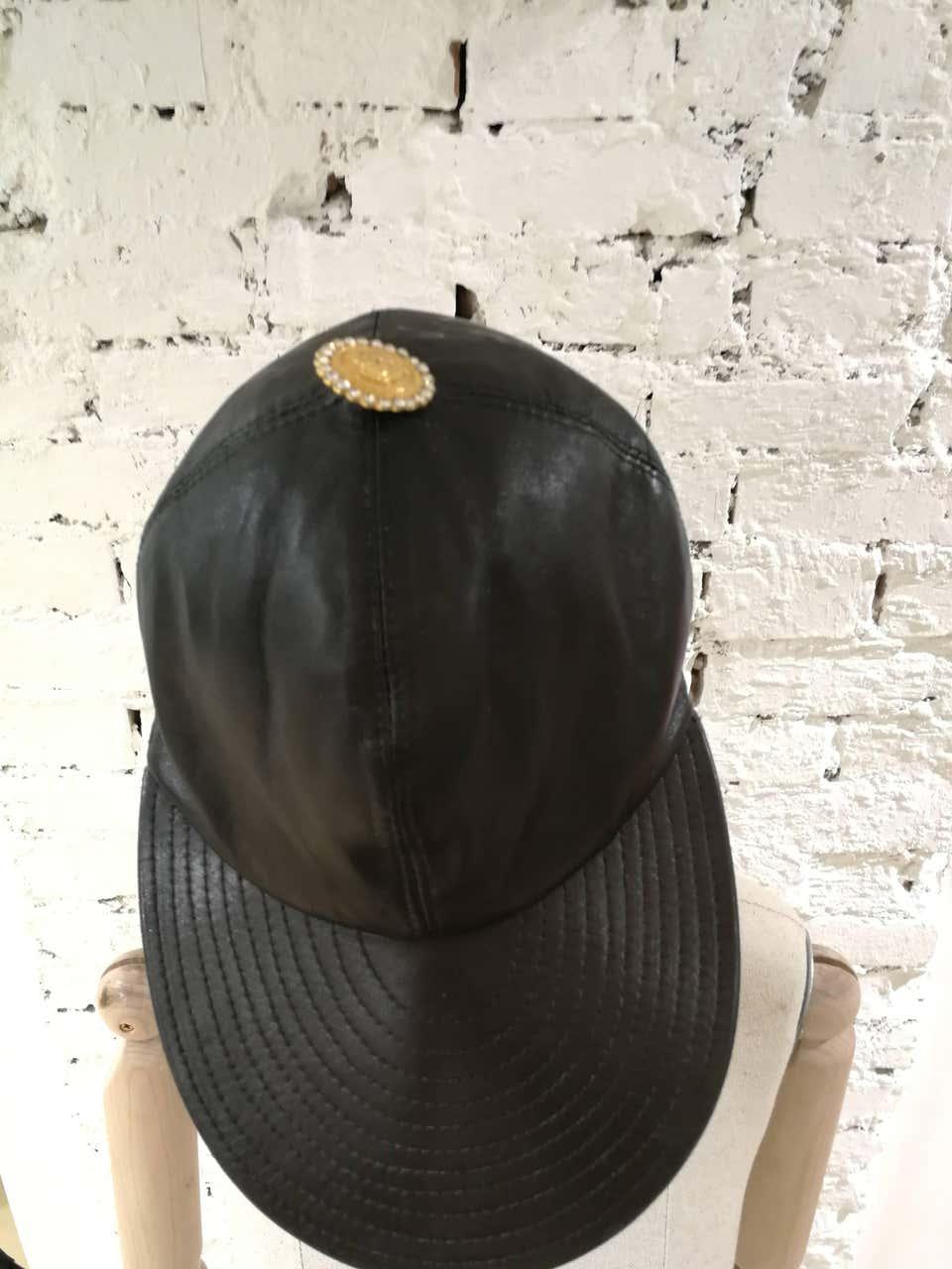 Gianni Versace Black Leather Hat Versace   Hats   CAPPELLO PELLENERO